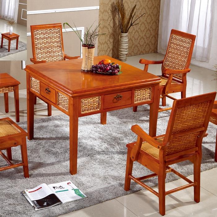 中式藤艺桌椅
