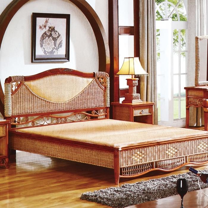 中式藤艺编织床