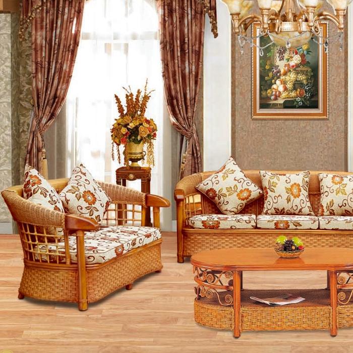 藤艺牛角椅沙发